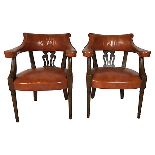 Hickory Leather Library Chairs, Pr.