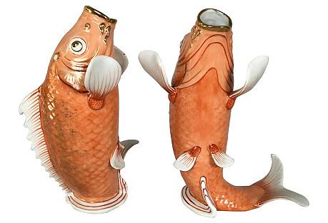 Hand Painted Koi Fish Figurines, Pair