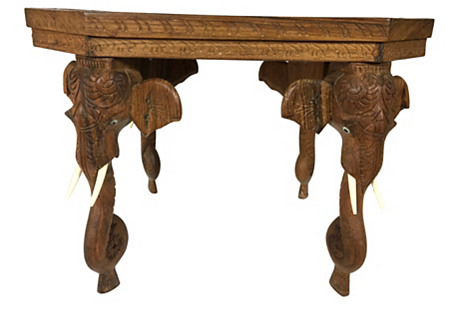 Carved Morrocan Elephant Table