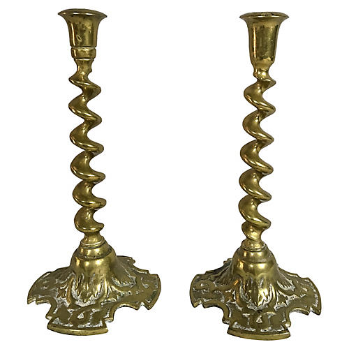 English Brass Twisted Candlesticks