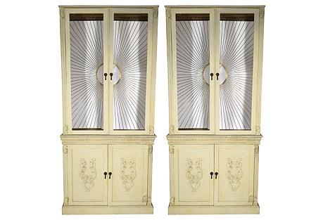 Bergdorf Goodman Sunburst Cabinets, Pair