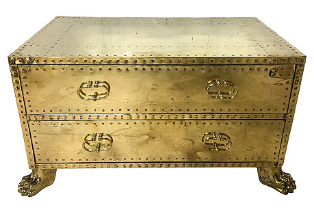 1960s Brass Clad Trunk/Coffee Table