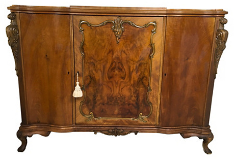 Burled French-Style Cabinet/Bookcase