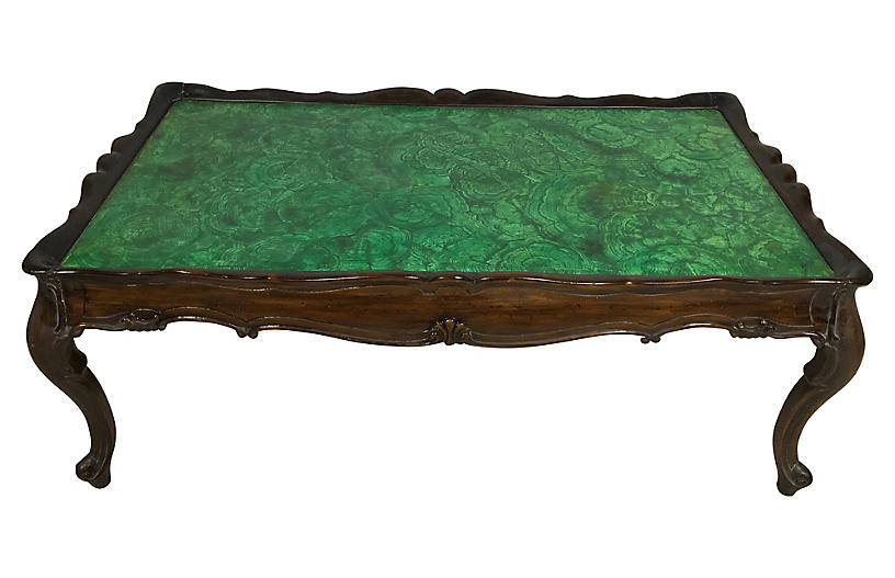 Italian Faux Malachite Coffee Table
