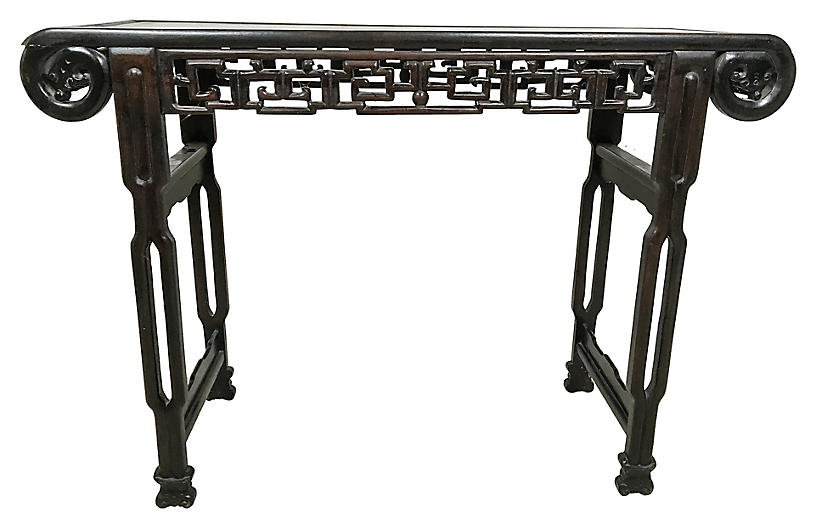 Early-20th-C. Teak Asian Console