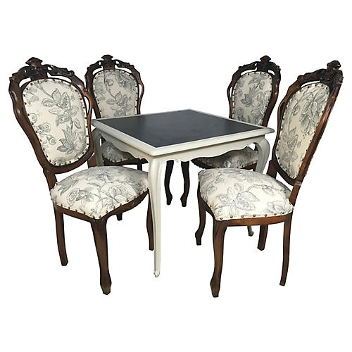 French Game Table & 4 Chairs