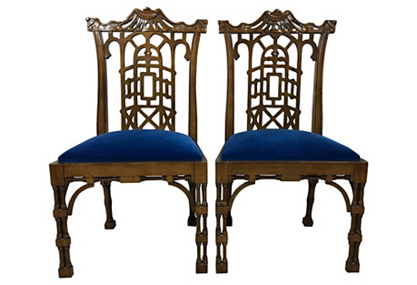 Chinese Chippendale Style Chairs, Pair