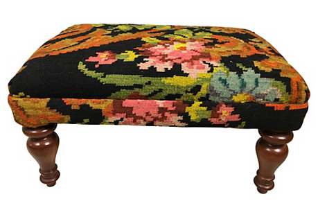 French-Style Kilim-Upholstered Ottoman