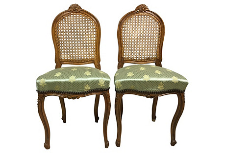 French-Style Caned Side Chairs, Pair