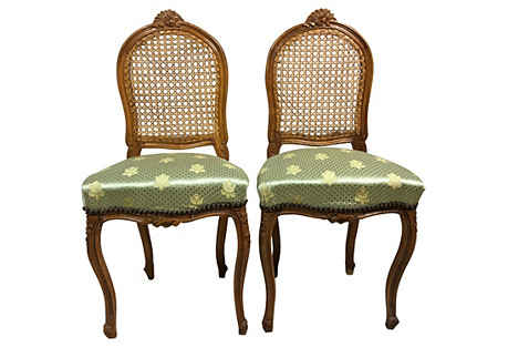 Petite French Style Caned Chairs, Pair