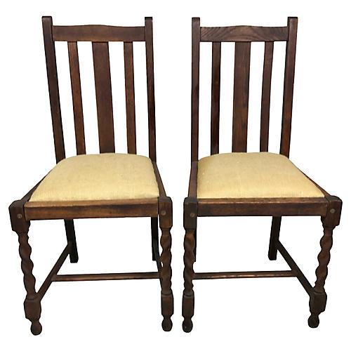 English Oak Barley Twist Chairs, S/2
