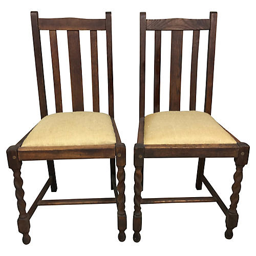 Oak Barley Twist Side Chairs, S/2
