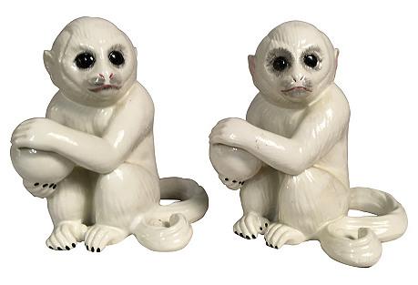 Signed Italian Teracotta Monkeys, Pair