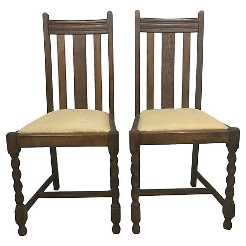 English Barley-Twist Oak Chairs, Pair