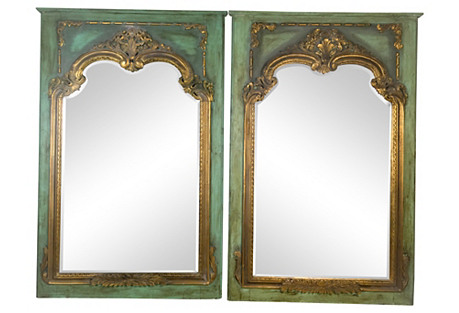 Antique Gilded French Mirrors, Pair