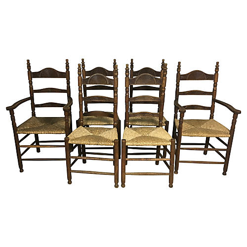 French Rush-Seat Dining Chairs, S/6