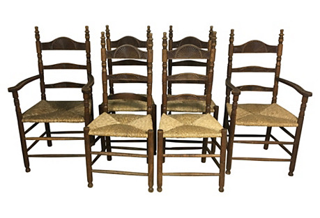 French Oak Rush Seat Dining Chairs, S/6