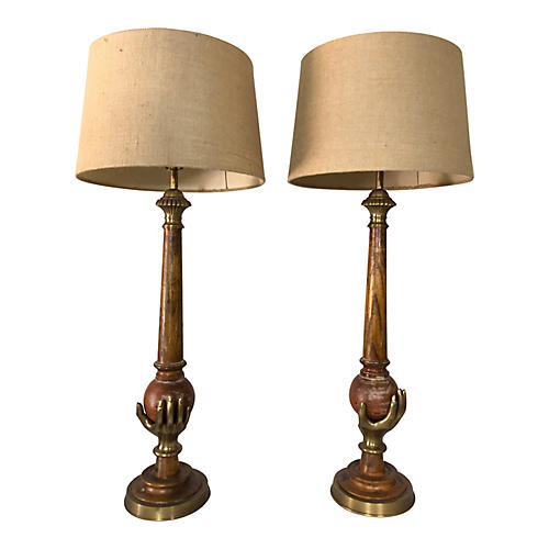 Chapman Brass Lamps, Pair