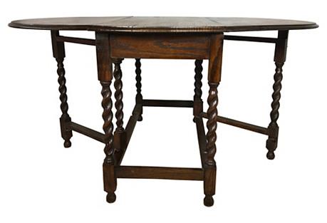1930s Large English Oak Gateleg Table