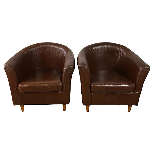 Art Deco-Style Leather Club Chairs, Pair