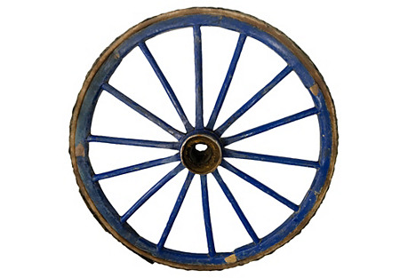 Primitive Blue Wagon Wheel