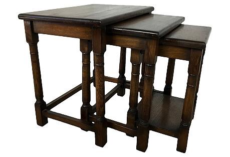 1920s English Oak Nesting Tables, S/3