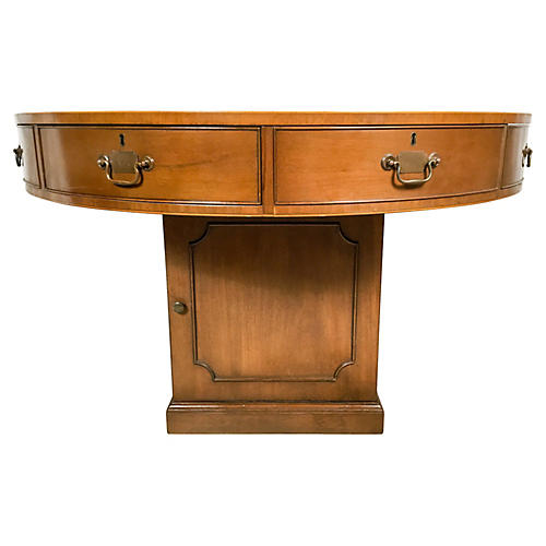 1940s Leather Top Pedestal Library Table