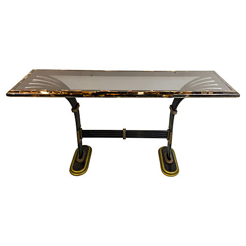 Maitland Smith Horn Brass Console Table