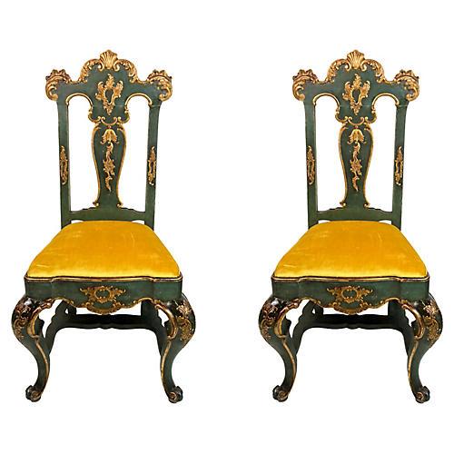 19th-C. Venetian Side Chairs, Pair