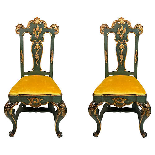 19th-C. Venetian Side Chairs, Pair