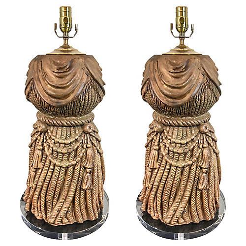 Large Italian Tassel & Lucite Lamps,Pair