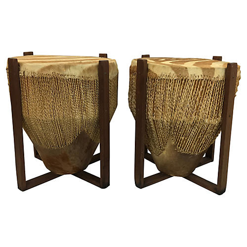 African Zebra Skin Drum Tables, Pair