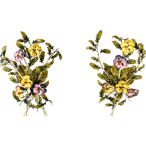 Italian Pansy Tole Sconces, Pair