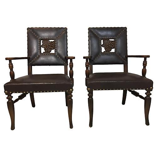 Carved Italian Mahogany Chairs, Pair