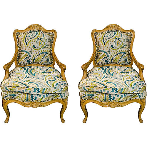 Carved French Style Armchairs, Pair