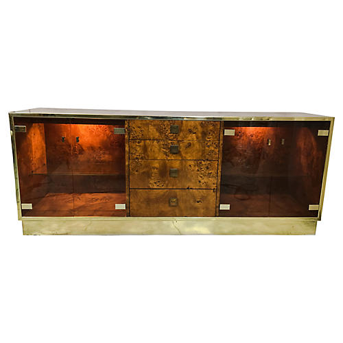 1970s Founders Burl and Brass Credenza