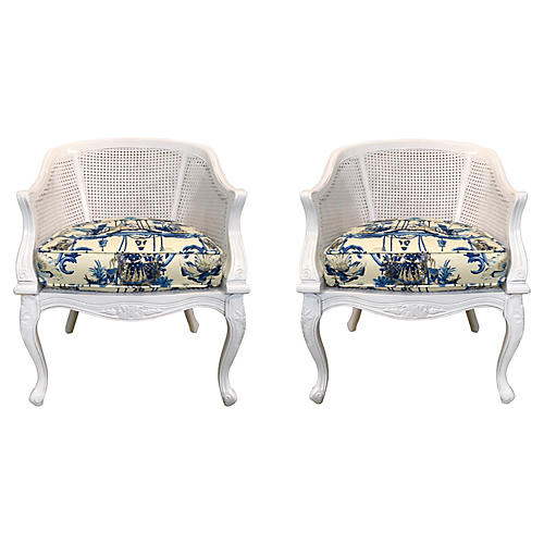 French Style Chinoiserie Chairs,Pair
