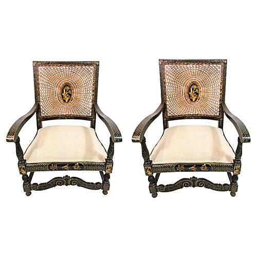 Antique Chinoiserie Armchairs, Pair