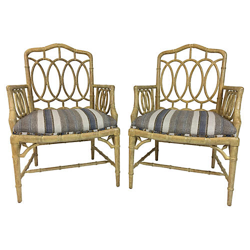 Hickory Faux Bamboo Armchairs,Pair