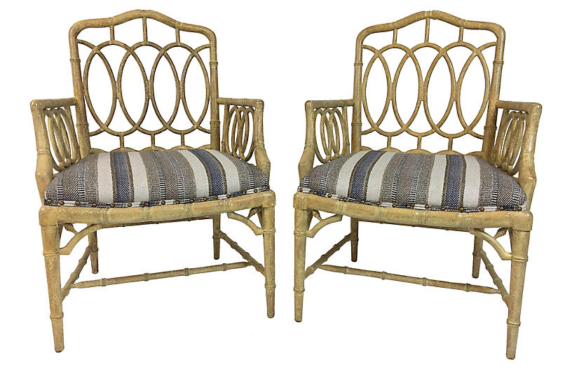 Hickory Faux-Bamboo Armchairs, Pair