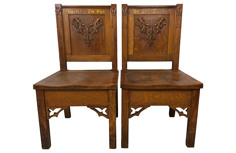 19th-C. Hand Carved German Chairs, Pair