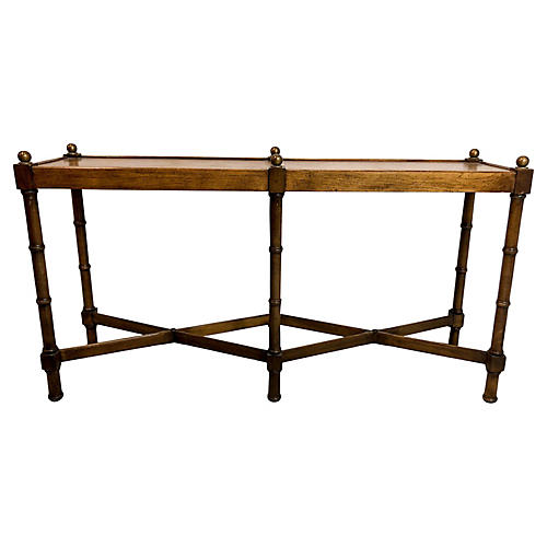 1970s Faux Bamboo Console by Brandt