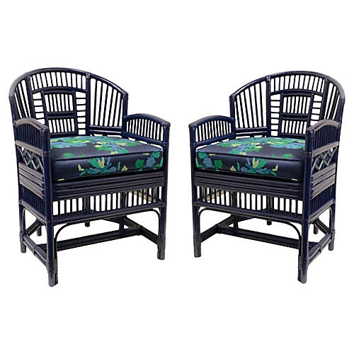 Chippendale Style Bamboo Chairs, Pair