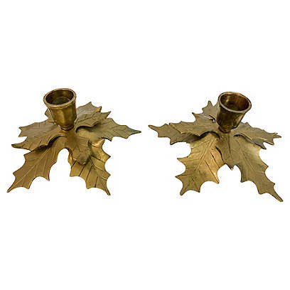 Brass Holly Candle Holders, Pair