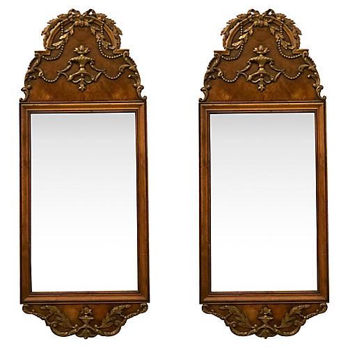 Italian Burl Mirrors, Pair