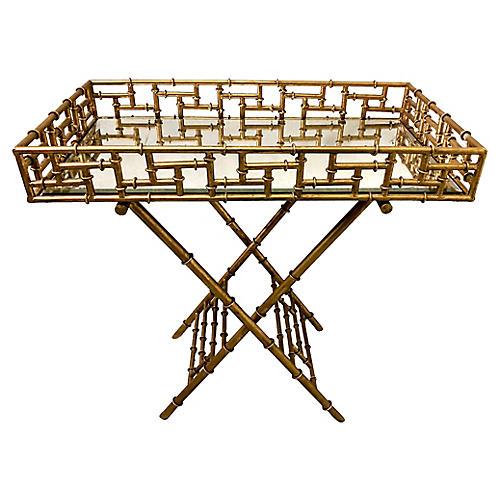 Gilt Faux Bamboo Butler's Tray Table