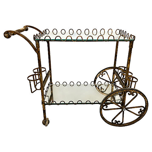 Hollywood Regency Gilt Metal Bar Cart