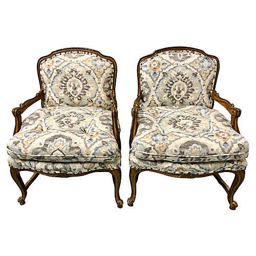French Style Armchairs, Pair