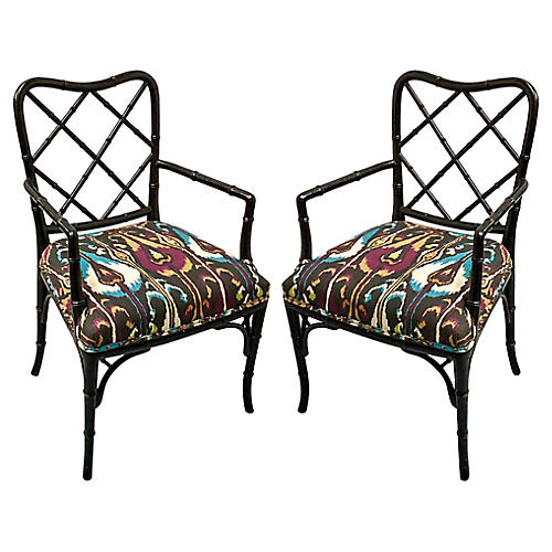 Faux Bamboo Armchairs, Pair