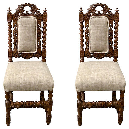 19th- C. Barley Twist Side Chairs,Pair